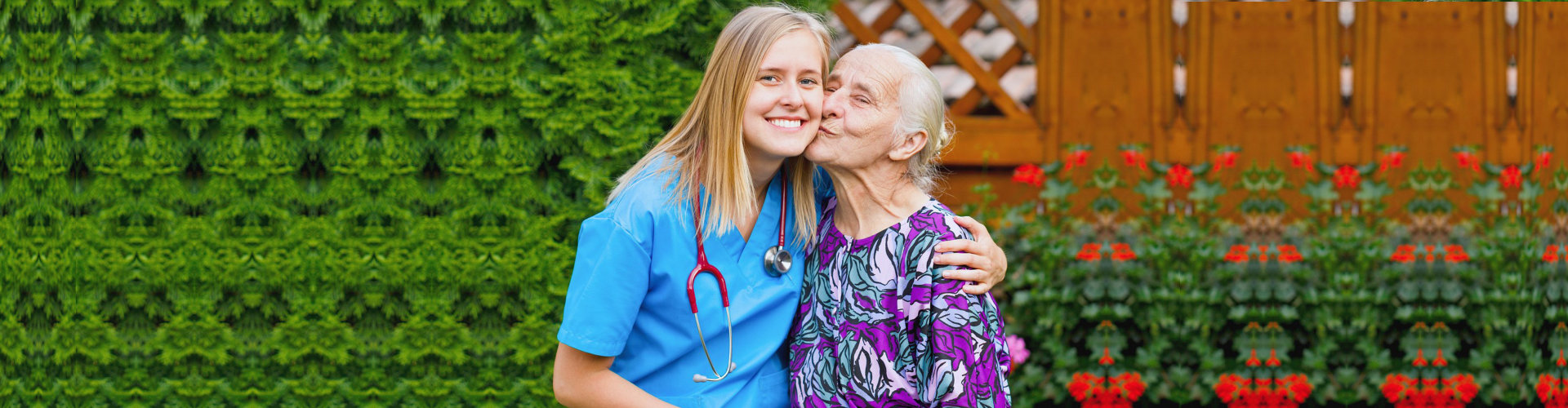 elderly kissing nurse on cheek